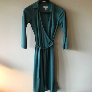 LOFT Green Wrap Dress